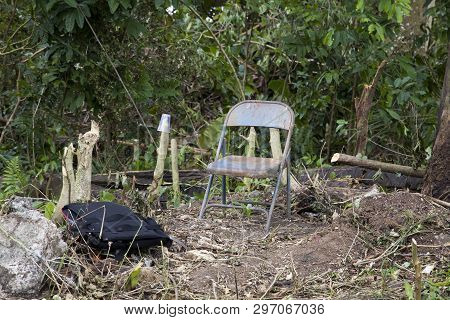 Abandoned Spot In Wooded Area Likely Used By A Homeless Person In Cerro Gordo, Bayamon, Puerto Rico.