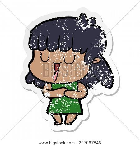 distressed sticker of a cartoon woman laughing