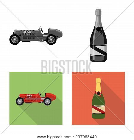 Vector Design Of Car And Rally Sign. Collection Of Car And Race Stock Symbol For Web.