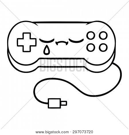 line drawing cartoon of a game controller