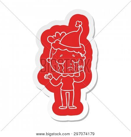 quirky cartoon  sticker of a crying woman wearing santa hat