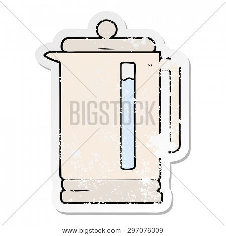 distressed sticker of a cartoon electric kettle