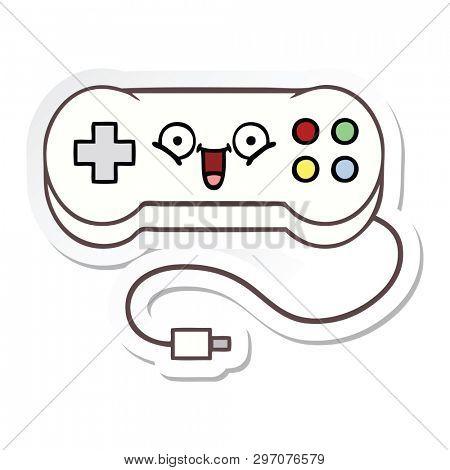 sticker of a cute cartoon game controller
