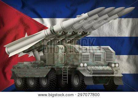 Tactical Short Range Ballistic Missile With Arctic Camouflage On The Cuba Flag Background. 3d Illust