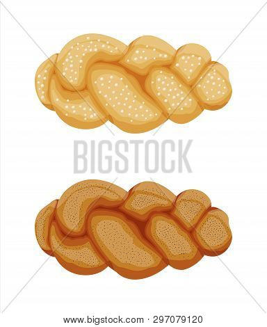 Braided Bread Bun Icon. Pastry Bakery With Poppy Seeds. Fresh Tasty Bun. Sweet Loaf Food. Challah Je