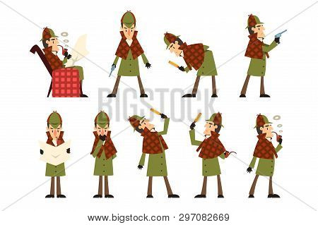 Flat Vector Icons Of Detective Sherlock In Different Actions Thinking, Reading Newspaper, Smoking Pi