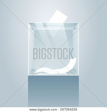 Ballot Box. Glass Voting Case On Podium, Vote Paper Container Vector Illustration, Box For Suggestio
