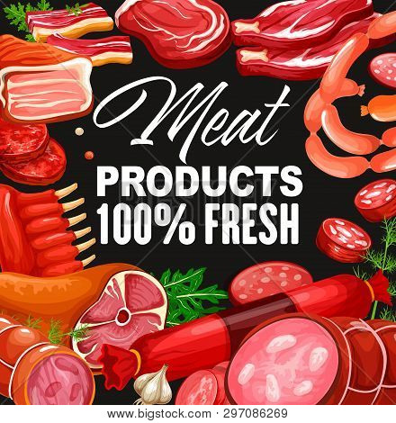 Butchery Shop Meat And Grocery Store Gourmet Sausages. Vector Pork And Beef Meat Products, Salami Or