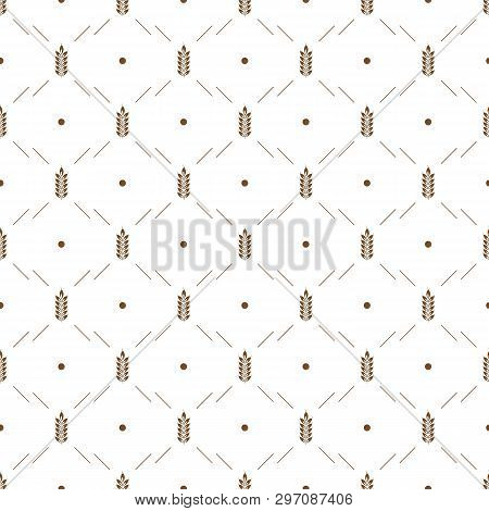 Vector Seamless Pattern Illustration Ears Of Wheat. Whole Grain, Organic, For Bakery Package, Bread