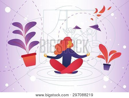 Vector Illustration Meditation At Home Cartoon. Woman Gets Pleasure Relaxation Through Meditation. D
