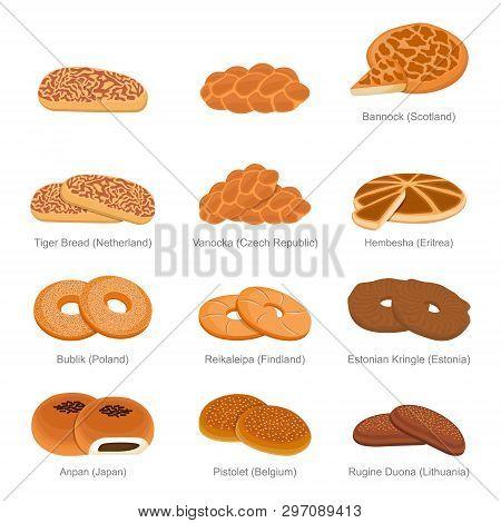 Tiger Vanocka Bannock And Famous Unique Bread Of Countries Set