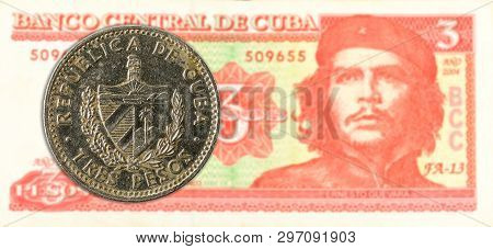 3 Cuban Peso Coin Against 3 Cuban Peso Banknote