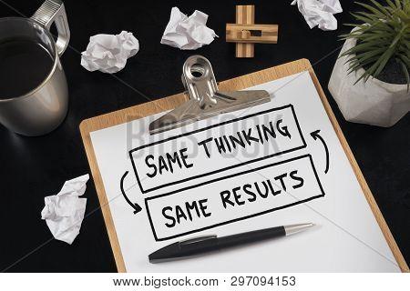 Same Thinking And Same Results, Negative Feedback Mindset Concept.