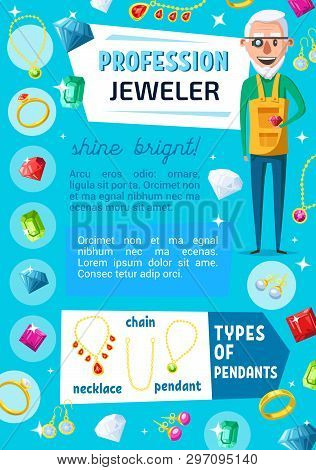 Jeweler Professional Worker And Jewelry Bijou. Vector Jewelry Expert Appraiser Or Goldsmith With Gem
