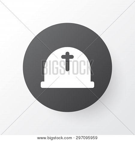 Cemetery Icon Symbol. Premium Quality Isolated Headstone Element In Trendy Style.