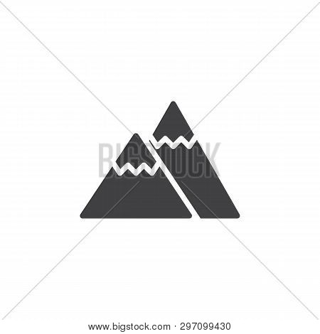 Mountain Peak Vector Icon. Filled Flat Sign For Mobile Concept And Web Design. Snowy Mountains Peak