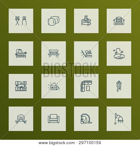 House icons line style set with wall lamp, barstool, crib and other sweeper elements. Isolated  illustration house icons. poster