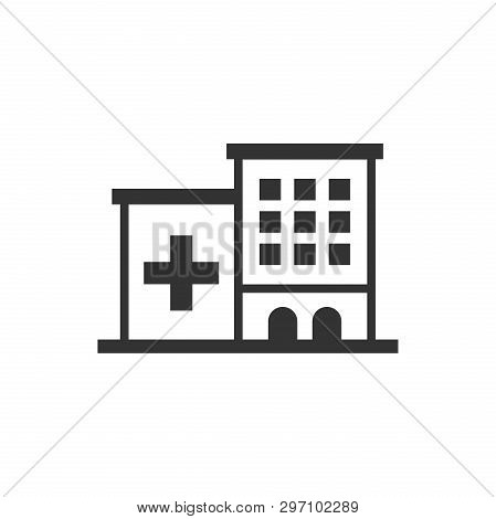 Hospital Building Icon In Flat Style. Infirmary Vector Illustration On White Isolated Background. Me