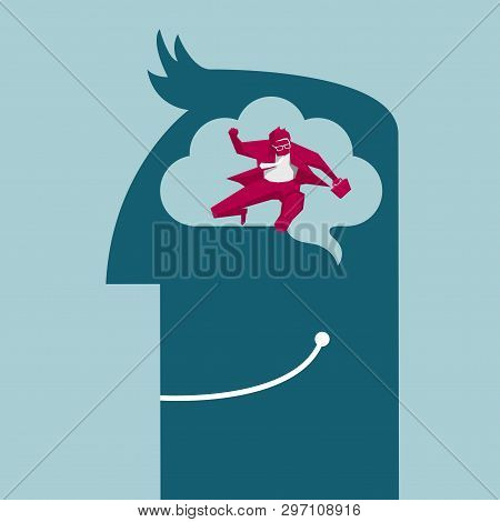 Businessman Hurdles Running. Isolated On Blue Background.