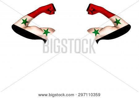 Two Carved Hands With A Painted Flag Of Syria Show Muscles As A Sign Of Strength, Strength And Readi