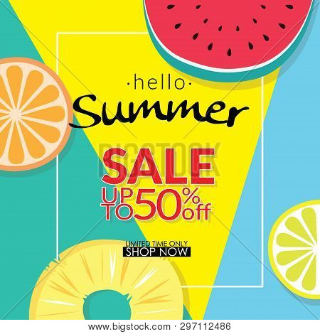 Summer Sale Discount 50 Percent Off Template Banner With Pieces Of Tropical Fruit On Colorful Backgr