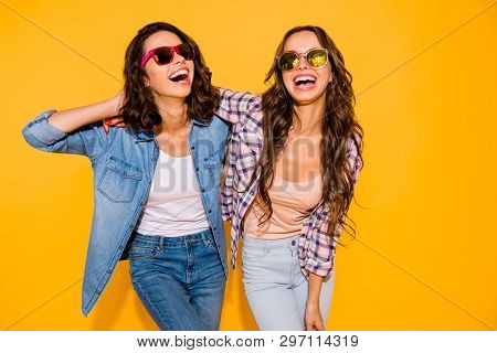 Portrait Beautiful Cute Charming Teen Teenagers Satisfied Content Chill Laughter Touch Hair Free Tim