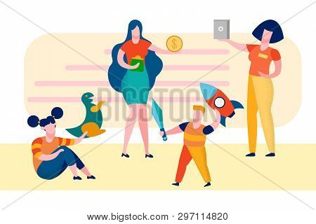 Mother With Children In Shop Vector Illustration. Girl And Boy In Toys Store. Sister And Brother Car