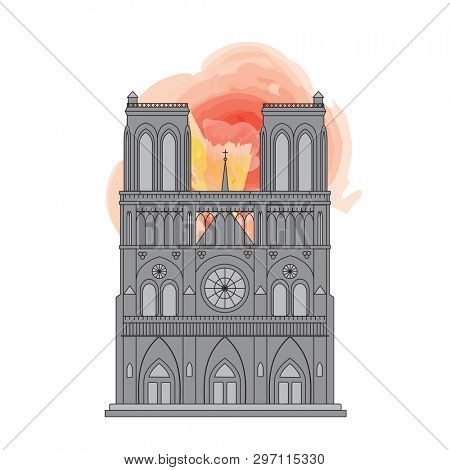 Notre Dame Cathedral in Paris, France. Line drawing with watercolor style flames.