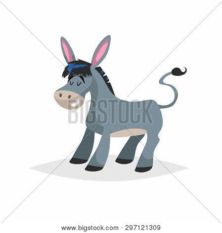 Cute Cartoon Donkey. Obstinate Domestic Farm Animal. Vector Illustration For Education Or Comic Need