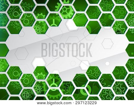 Cybernetic Circuit Board Vector Illustration. Futuristic Composition For Your Text. Abstract Technol