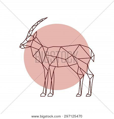 Polygonal Antelope Silhouette. Geometric Antelope Side View. Vector Illustration.