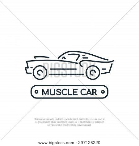 Muscle Car Line Icon. Car Symbol. Liner Style. Vector Illustration.