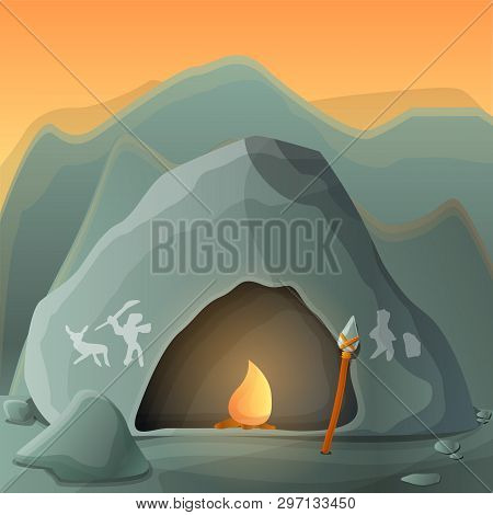 Stone Age Cave Concept Background. Cartoon Illustration Of Stone Age Cave Vector Concept Background