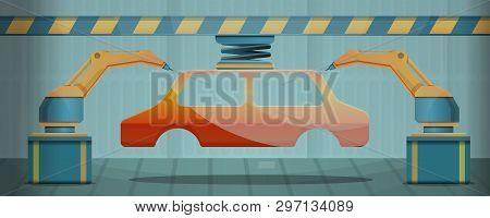 Car Factory Line Concept Banner. Cartoon Illustration Of Car Factory Line Vector Concept Banner For