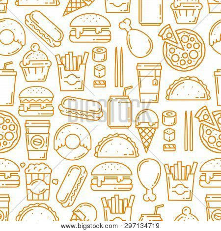 Fast Food Seamless Pattern, Thin Line Art Background. Vector Hot Dogs, Burgers Or Sandwiches And Des