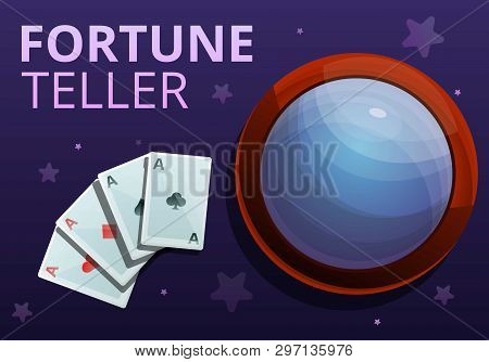 Fortune Teller Playing Cards Concept Banner. Cartoon Illustration Of Fortune Teller Playing Cards Ve