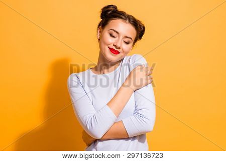 Portrait Of Her She Nice Attractive Lovely Peaceful Calm Winsome Adorable Cheerful Girl Hugging Hers