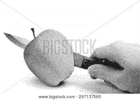 Apple Is Cut With A Knife. A Woman's Hand With A Knife Cuts An Apple. Stipple Vector Illustration. A