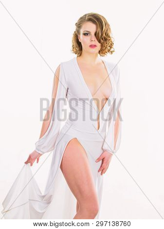 Vintage Fashion Concept. Girl Vintage Model On White Background. Sexy Vintage Fashionable Dress. Wom