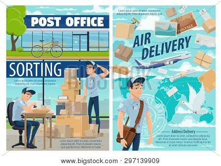 Mail Delivery And Post Office Postman. Vector Mailman At Sorting Center With Postage Stamp, Worldwid