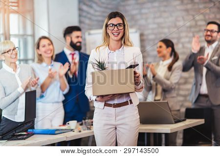 New Member Of Team, Newcomer, Applauding To Female Employee, Congratulating Office Worker With Promo