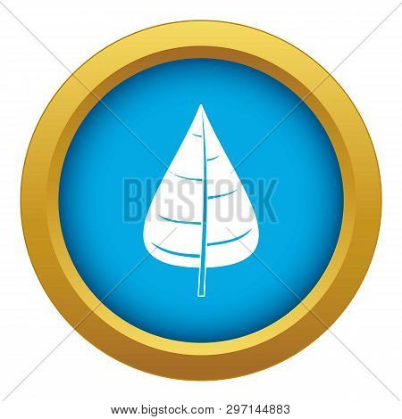Poplar Leaf Icon Blue Vector Isolated On White Background For Any Design
