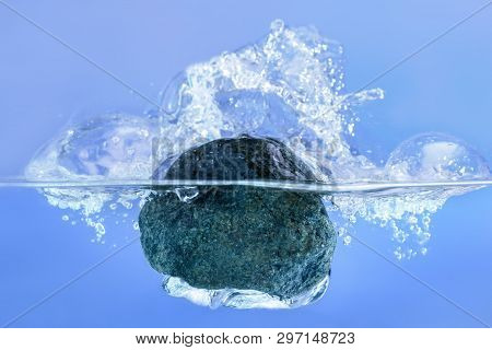Concept Solution To The Problem,  Difficulty. Man Throws A Stone Of Problems In The Water.
