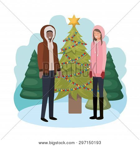 Couple With Christmas Tree In Landscape Vector Illustration Desing