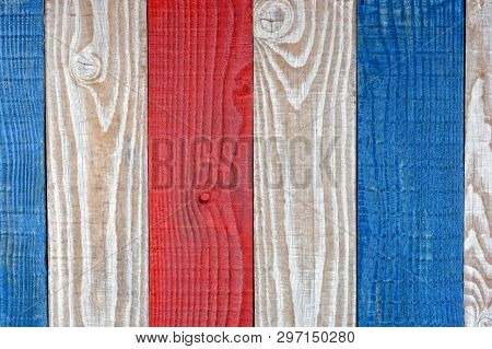 Rustic Red White and Blue Boards Background. Patriotic Background for 4th of July or Patriotic projects.
