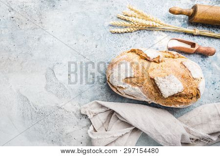 Fresh Homemade Crisp Bread, Top View. French Bread. Bread At Leaven. Unleavened Bread