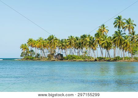 Travel Vacation Tropical Destination. Small Tropical Island Landscape. Travel Vacations Destination.