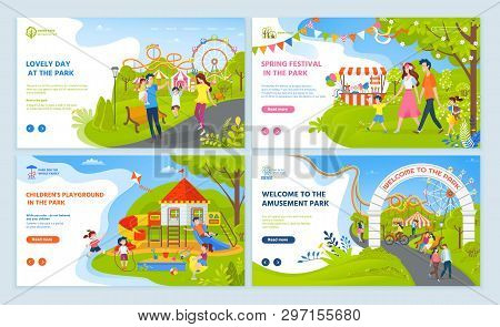 Lovely Day And Spring Festival In Amusement Park, Childrens Playground, Parents Walking With Boy And