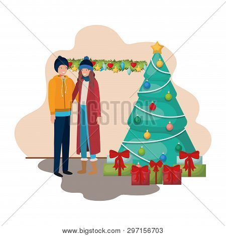 Couple With Christmas Tree And Gifts Vector Illustration Desing