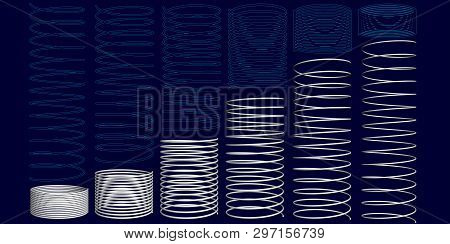 Set With Springs In Different State Of Compression. Springs Polygonal And Silhouettes. Vector Illust